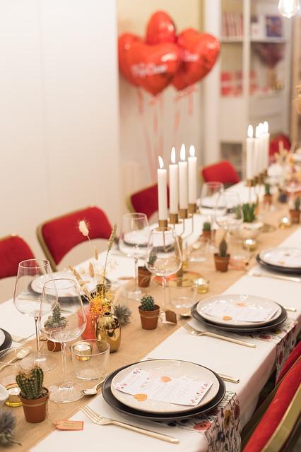 chemins de table pour réception de luxe